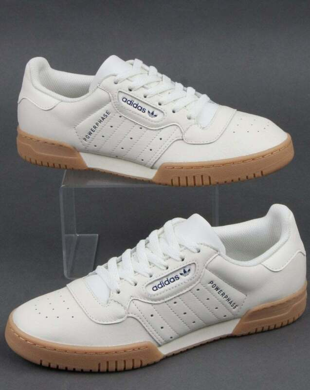 adidas Powerphase Trainers in Off White & Dark Blue gum sole, leather