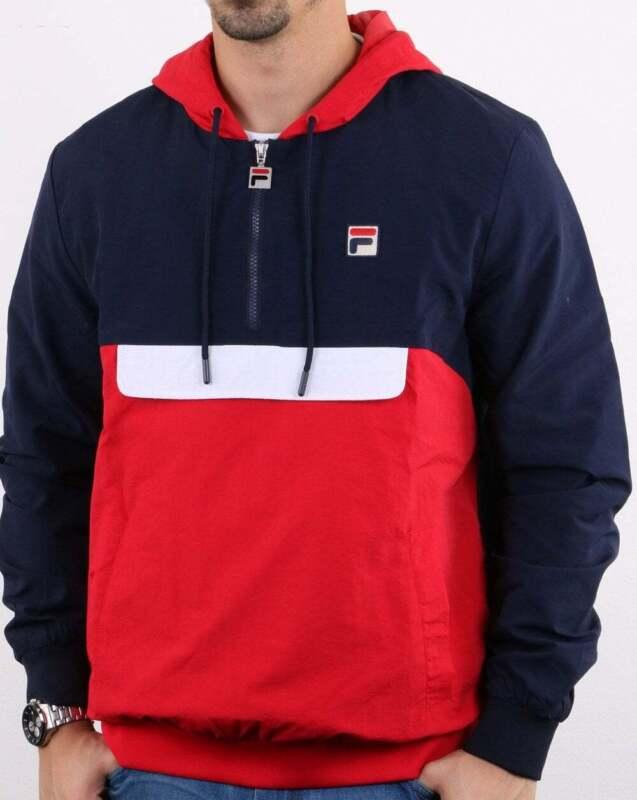 Fila Vintage Half Zip Jacket in Navy, Red & White hooded windbreaker coat SALE