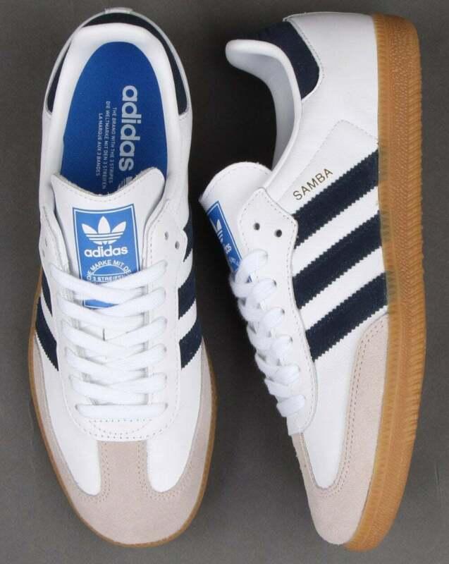 Détails sur Adidas Samba OG Baskets Blanc/Bleu Marine- afficher le titre  d'origine