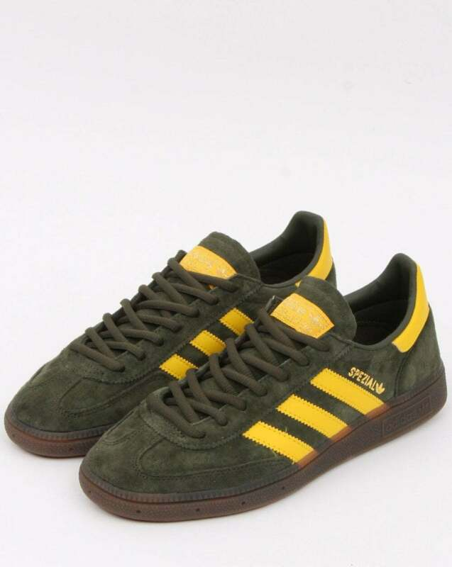 adidas Handball Spezial Trainers in Khaki Green & Yellow suede gum sole, retro