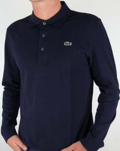 ef622da4 Lacoste Long Sleeve Polo Shirt in Navy Blue - cotton SALE (SMALL ONLY)