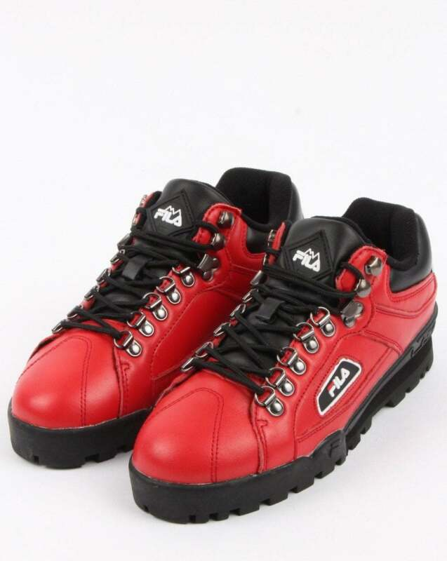 Fila Trailblazer Boots in Red Leather 90s old skool rave, 80s casual classics