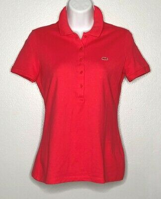 WOW~ LACOSTE sz 36 4/XS 5 BUTTON PIQUE POLO SHORT SLEEVE WOMEN'S PINK on PINK