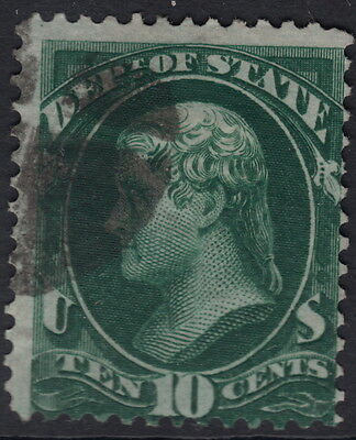 UNITED STATES OFFICIAL : 1873 10c dark green STATE  -SCOTT # 062 used