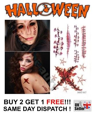 Fake Wounds Halloween Costume (Halloween Zombie Scars Tattoos Fake Blood Scab Scar Wound Costume Make-Up Kit)