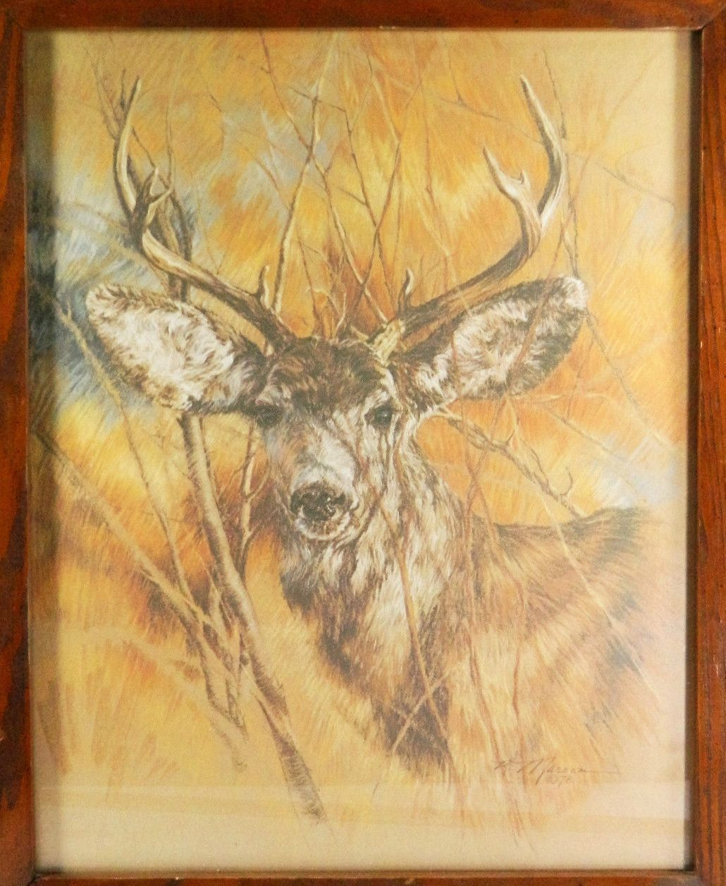 Vtg Maroon Home Interior Art Silent Buck Deer Picture