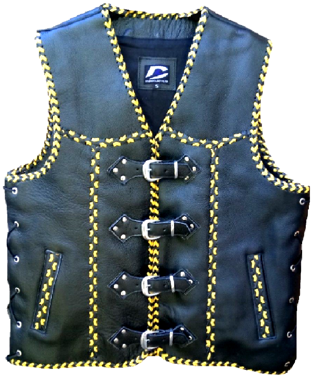 Leather Motorcycle Vest Belt Buckle Motorbike Braided Designer Cutom Club Vest