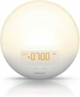 Philips HF3510 Wake-Up Snooze Light Alarm Clock with Sunrise Simulation - White