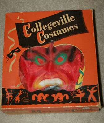 Vintage Collegeville Halloween Devil Costume-Adult Size 42-44 Cloth Mask & Hood