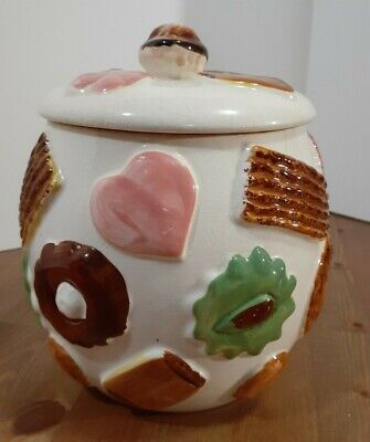 "Vintage Napco ""Cookies All Over"" Collector Cookie Jar w/Walnut Knob on Lid 1950s"