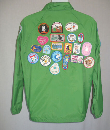 Girl Scouts Leader Vintage 1990s  29 Patches on Green Jacket  Women