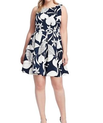 Just Taylor Dresses Sleeveless Scuba Fit And Flare Dress In Leaf Print Size 14 - Leaf Print Dress