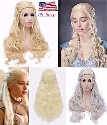 US! Game of Thrones Daenerys Targaryen Khaleesi Cosplay Long Braids Wig Costume - Khaleesi Daenerys Targaryen Kostüm