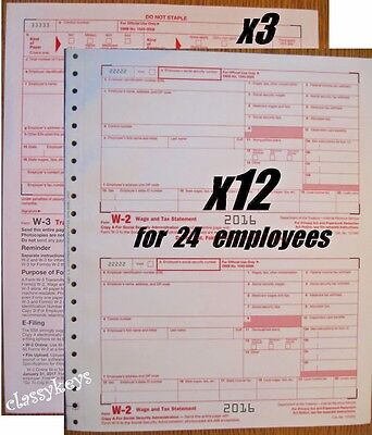 2016 Irs Tax Forms W 2 Wage Stmt Carbonless 12 Sets For 24 Employees   3 Form W3