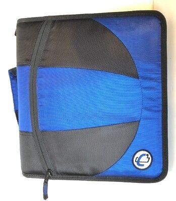 Case-it Dual Ring Zipper Binder D-ring 1-12 Inches Blue Black