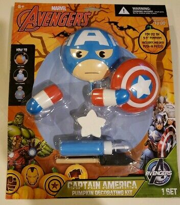 Halloween Decorations For Pumpkins (NIP Avengers Marvel Captain America Pumpkin Decorating Kit for Halloween Ages)