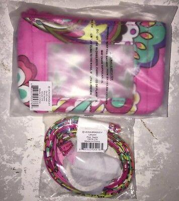 Pink Badge (VERA BRADLEY Zip ID Case & Lanyard Badge Holder Key Ring PINK SWIRLS)