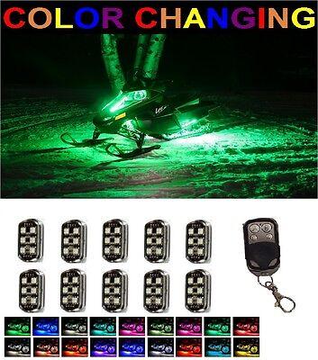 10pc Snowmobile LED MillionColor Performance Neon Lighting Pod Kit w Remote