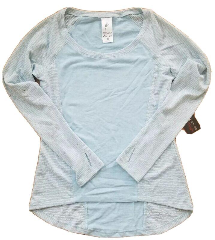NWT Studio by Capezio Francine top dance high low blue XS long sleeve 98444CS