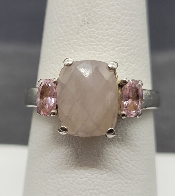 Vintage 925 Sterling Silver Ring  With Rose Quartz Size 7.75