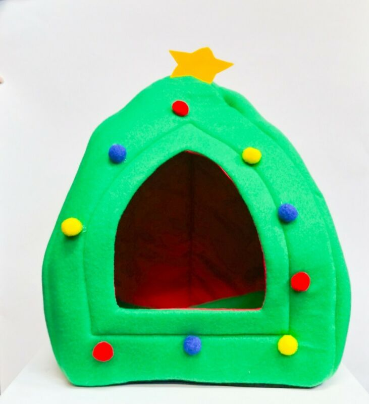 Holiday Pet Hut Christmas Tree Pet Central Cat Dog Home Bed House Plush (K3)