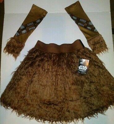 Chewbacca Womens Costume (NEW Womens Star Wars Chewbacca Costume Skirt Furry Arm Bands Size)