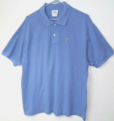 Lacoste Mens Polo Shirt Sz 7 Short Sleeve 100% Cotton Blue