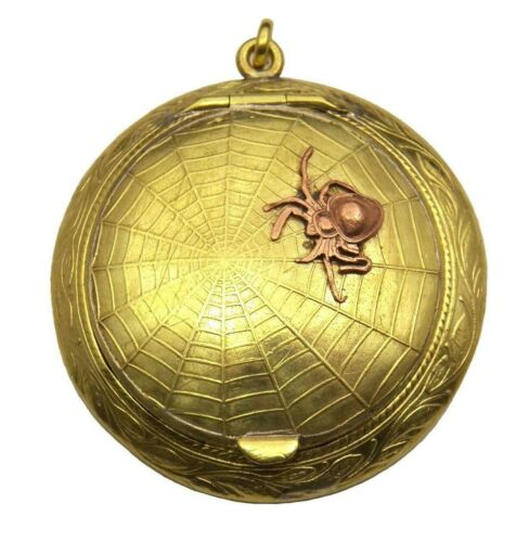 FABULOUS! GORGEOUS! Antique Brass/Copper **SPIDER WEB** LOCKET Compact R*A*R*E*