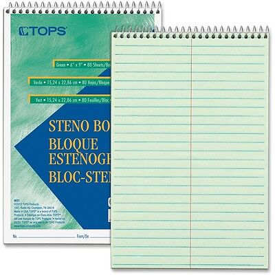 Tops Products Steno Book Gregg Rule 80sheetspd 6x9 12pk Gn Tint 8021dz