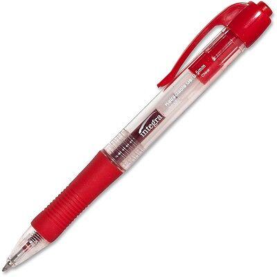 Integra Gel Pen Retractable Permanent .5mm Point Red Barrelink 36158