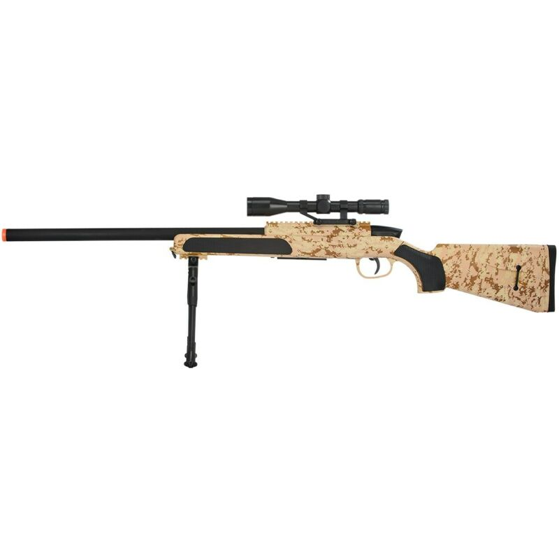 415 FPS BOLT ACTION AIRSOFT DESERT CAMO SPRING SNIPER RIFLE GUN w/ SCOPE 6mm BB