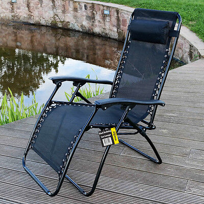 Reclining Sun Lounger Garden Chair Textoline Armrest Headrest Relaxing Outdoor