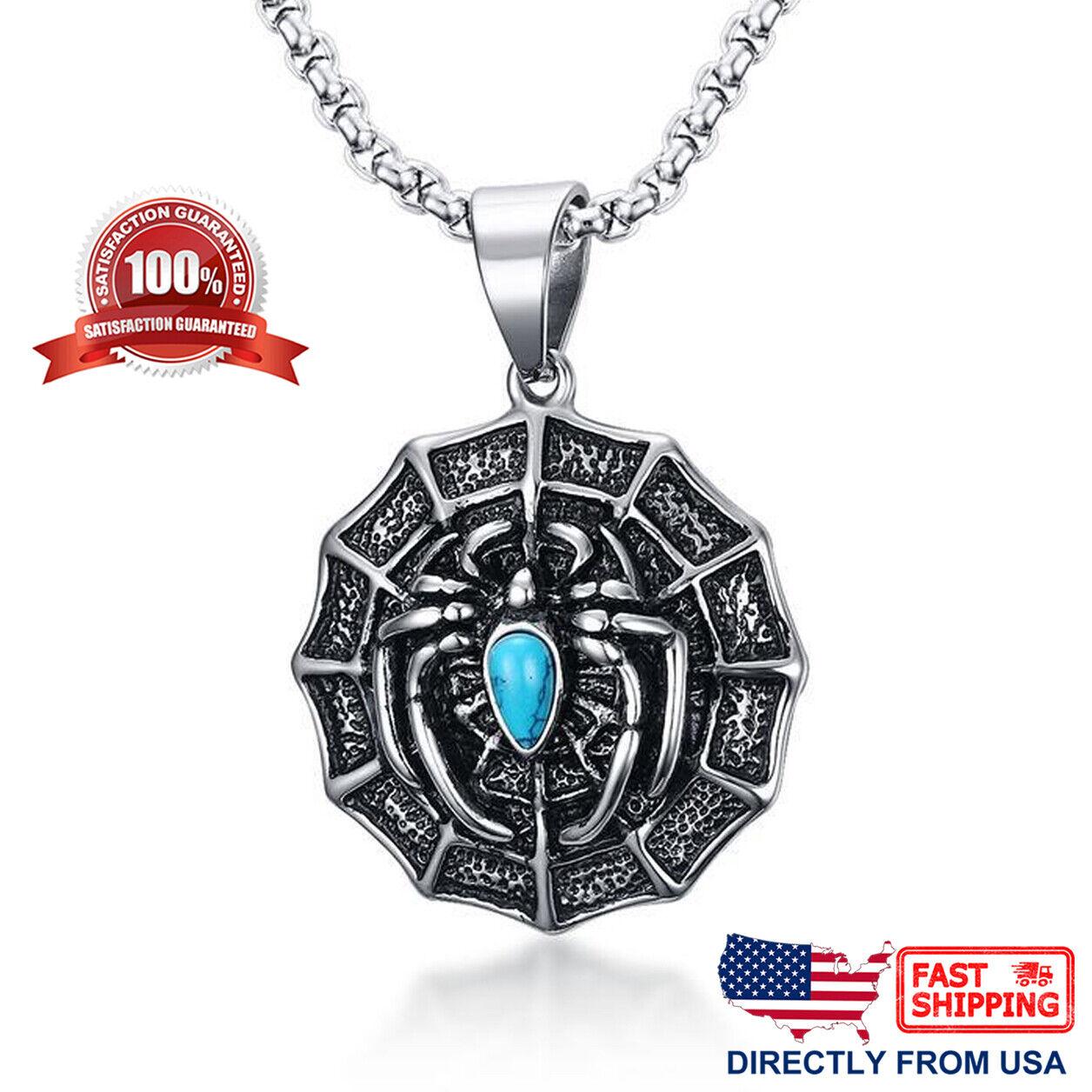 Men's Stainless Steel Spiker Web Biker Pendant Necklace Chains, Necklaces & Pendants