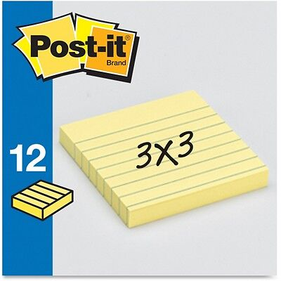 "3M Post-it Notes Lined 3""x3"" 100 Sheets/PD 12/PK Yellow 630SS"