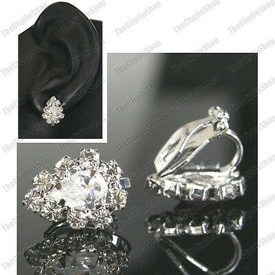 CLIP ON CZ CRYSTAL cubic zirconia TEARDROP EARRINGS silver rhinestone small clip
