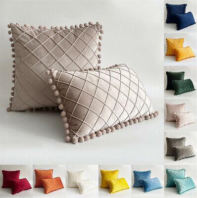 Us Pom Poms Velvet Soft Cushion Cover Checks Throw Pillow Cases Sofa Home Decor