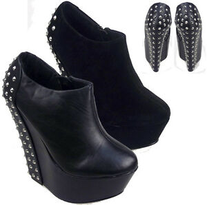 LADIES-WOMENS-STUDDED-BACK-ANKLE-BOOTS-WEDGE-HIGH-PLATFORM-HEEL-SHOES-ZIP-3-8