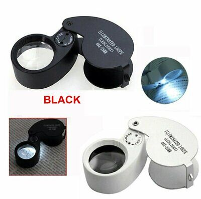 40X Magnifying Loupe Jewelry Eye Glass Magnifier LED Light Jewelers Loop Pocket Jewelry & Watches