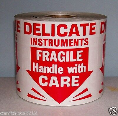 250 3x3 Delicate Instruments Fragile Label Sticker