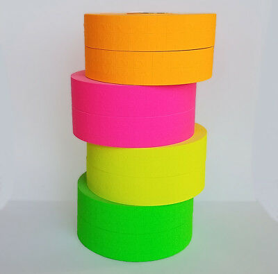 Monarch 1136 Price Gun Pink Green Orange Yellow Fluorescent 2 Rolls Each W Ink