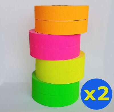 2 X Monarch 1131 Price Gun Pink Green Orange Yellow Fluorescent 4 Rolls Ea W Ink