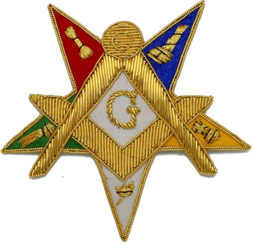 MASONIC ORDER OF EASTERN STAR OES EMBLEM White G PATCH HAND EMBROIDERED