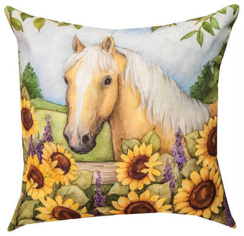 "HORSE IN THE GARDEN WITH SUNFLOWERS INDOOR OUTDOOR PILLOW - 18"" SQUARE"