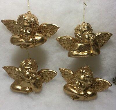 Gold Cherub Angel Christmas Tree Ornaments Victorian