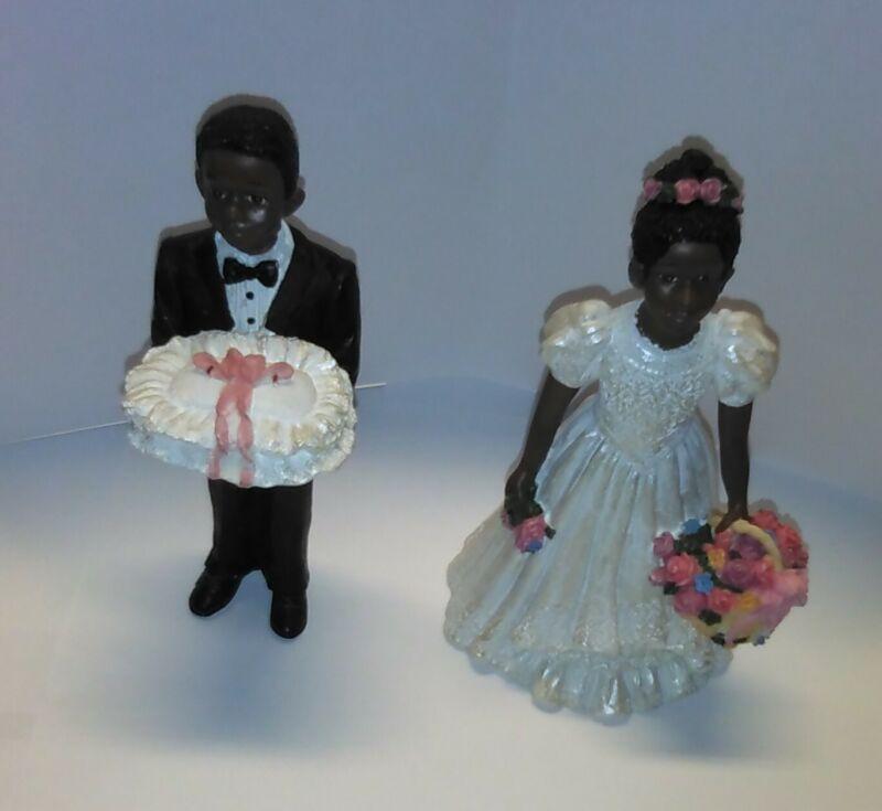 African American Black Ring Bearer & Flower Girl Wedding Figurine Statue