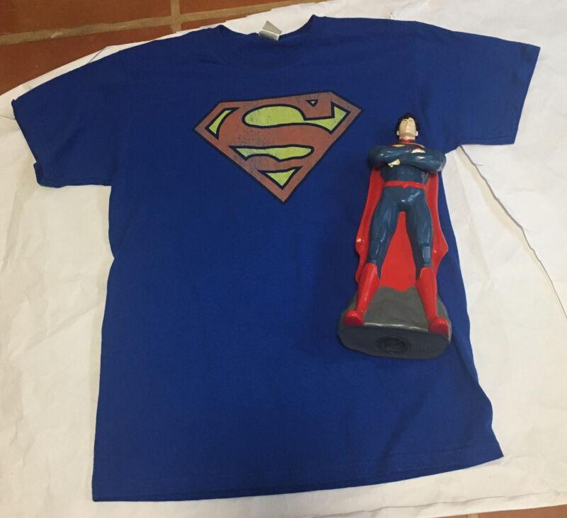 DC Comics Original Superman Boys Medium T Shirt with Superman Bank Bundle NICE