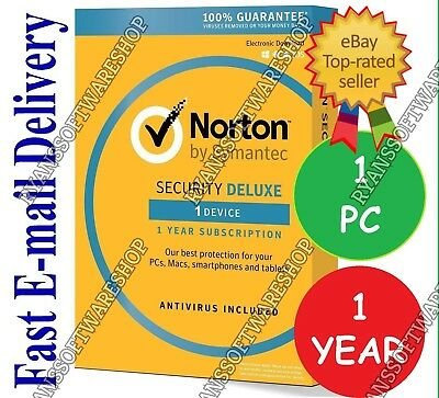 2018/2019 Norton Security Deluxe Premium Anti-Virus  ✅ 1 PC 1 Year DIGITAL Key