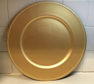 Gold Plastic Charger Plates with Beaded Rims - - Gold Charger Plates Wholesale