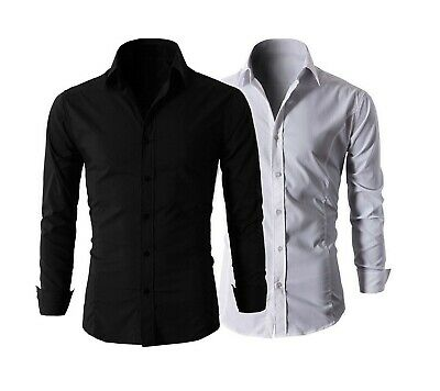 Camicia Uomo Slim Fit Cotone Elastico Manica Lunga Bianca Nera Classica Nuova MN