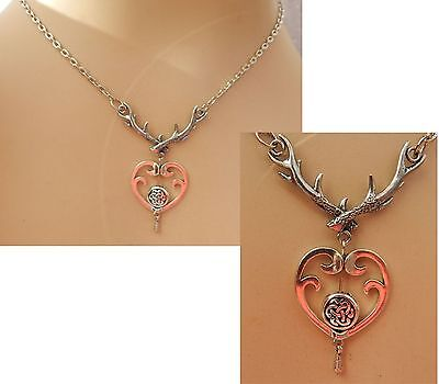 Silver Celtic Heart Stag Antlers Pendant Necklace Jewelry Handmade NEW Fashion